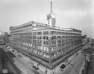 "Woodward's Department Store on Hastings Street In Vancouver with Iconic ""W"" on top. Photo courtesy of departmentstoremuseum.blogspot.ca"