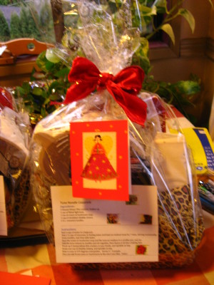 gift wrapped in cellophane with recipe